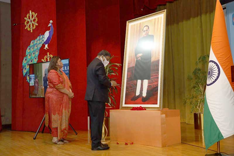 Life-size portrait of Dr. B.R. Ambedkar unveiled at Indian Embassy