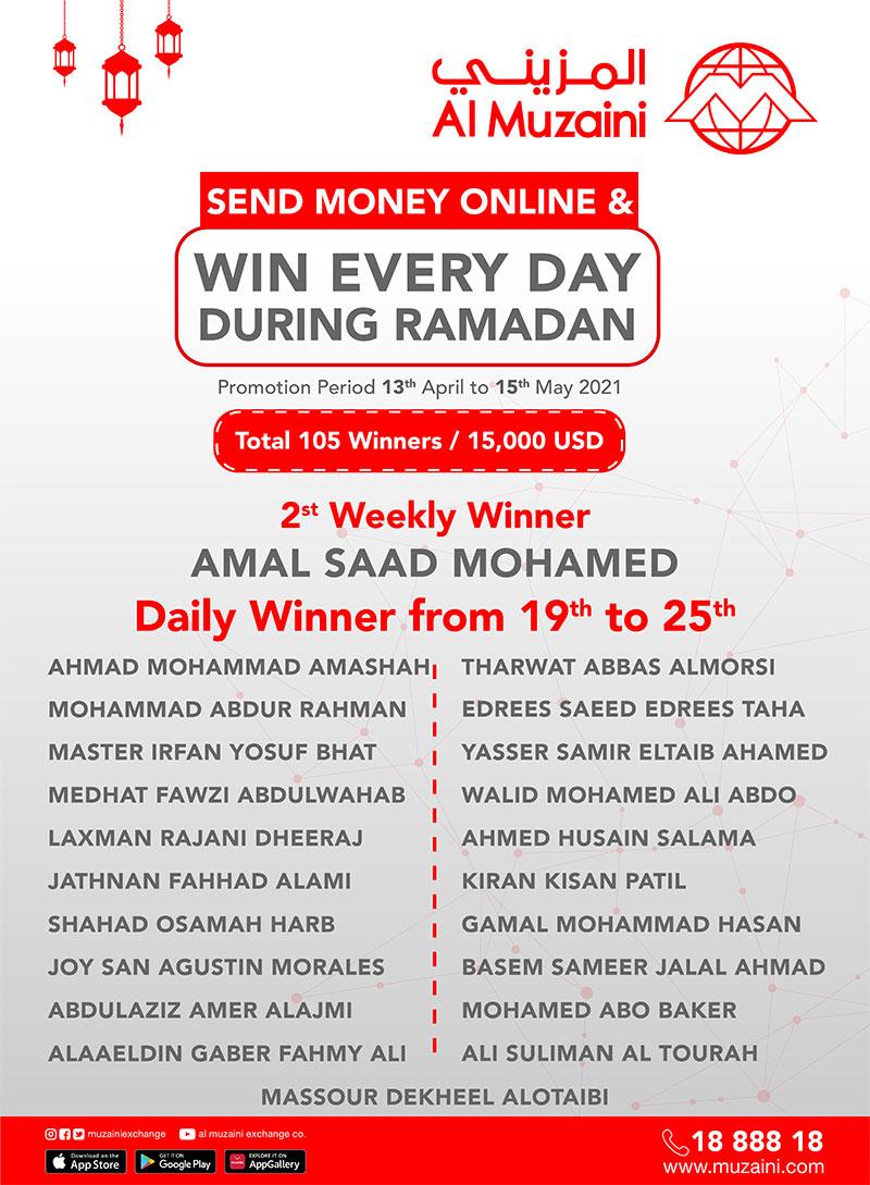Send Money Online & WIN Everyday Winners Announced
