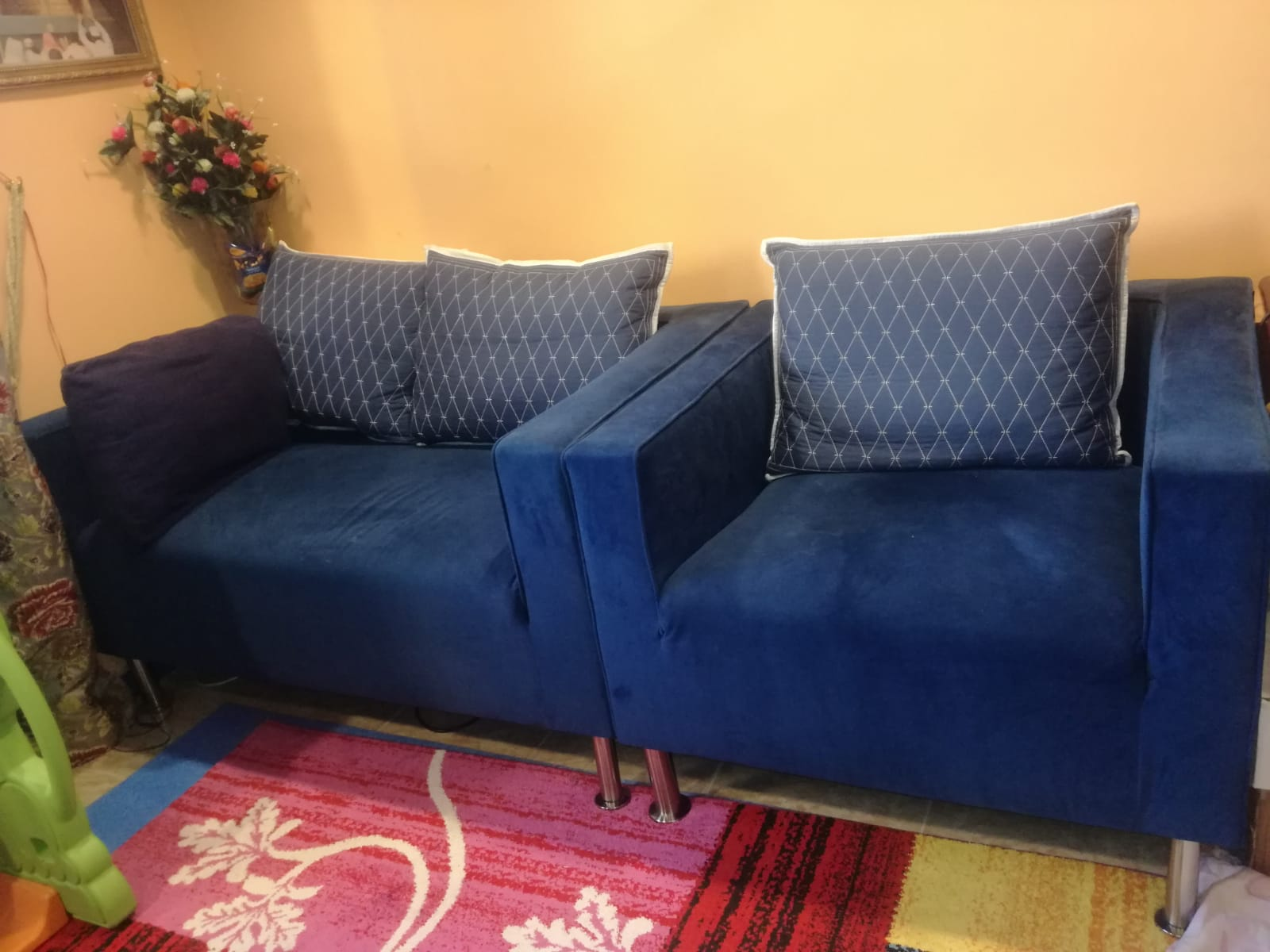 Affordable IKEA sofa set & LED tv with shelf!