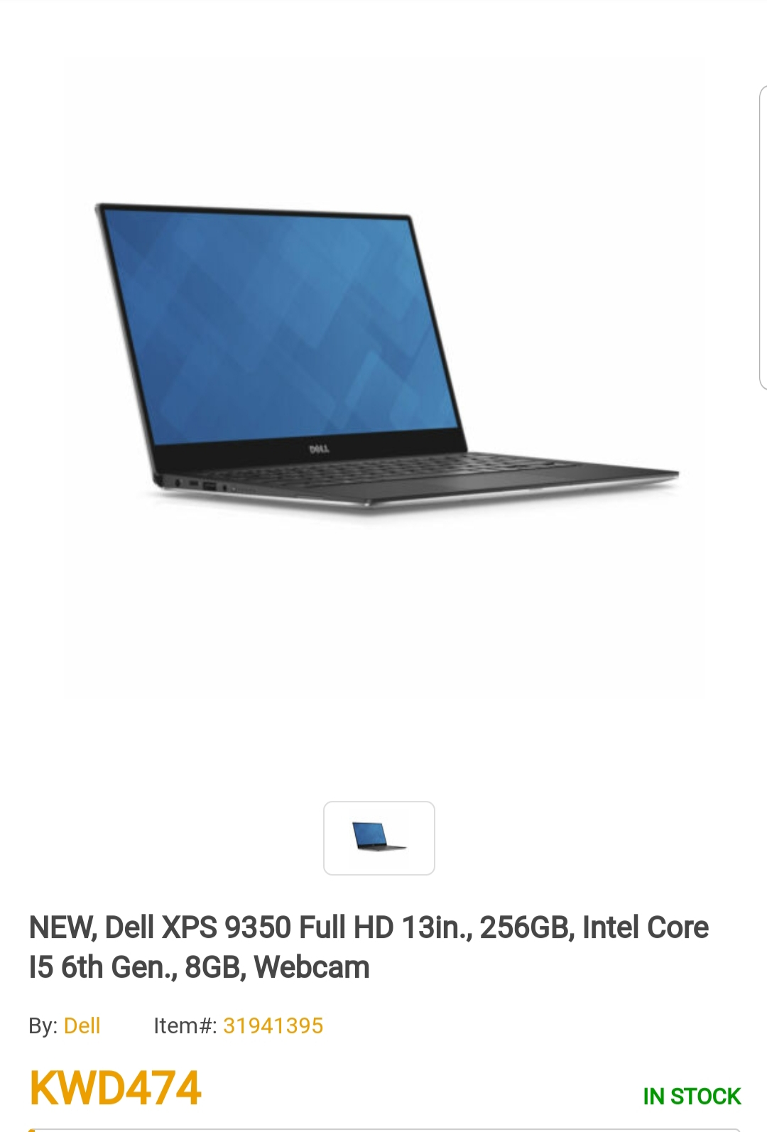 Touchscreen Dell XPS 9350 Full HD 13in., 256GB, Intel Core I5., 8GB,