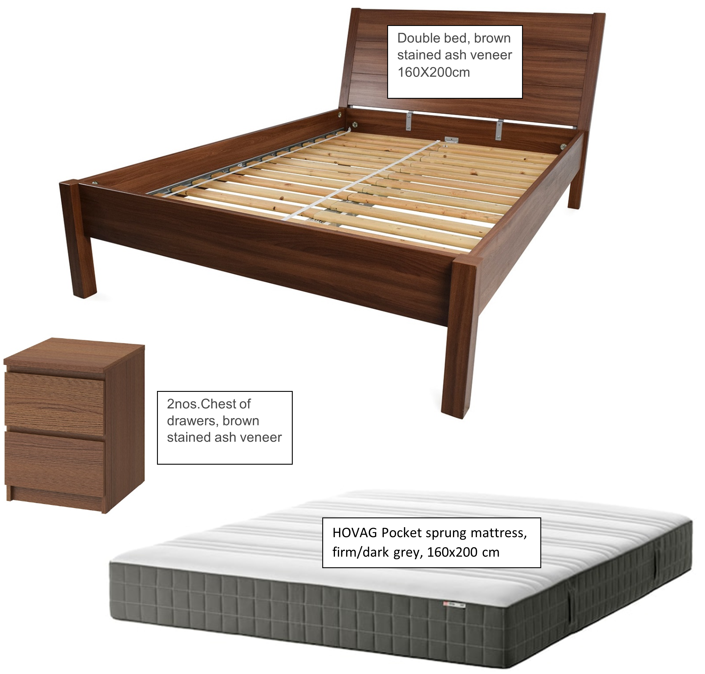 IKEA Bed along with mattress and side tables available in Salmiya