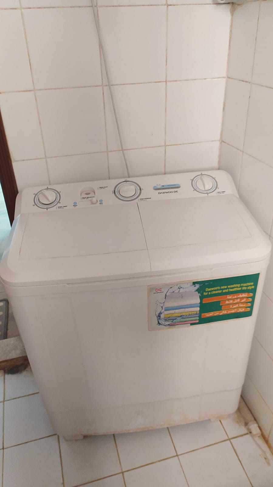Washing machine, Metal Double Bed, Oil heater, Table, stroller, babywalker