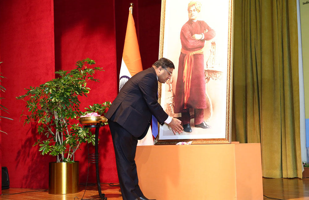 Indian Embassy celebrated National Youth Day; Unveils life-size portrait of Swami Vivekananda
