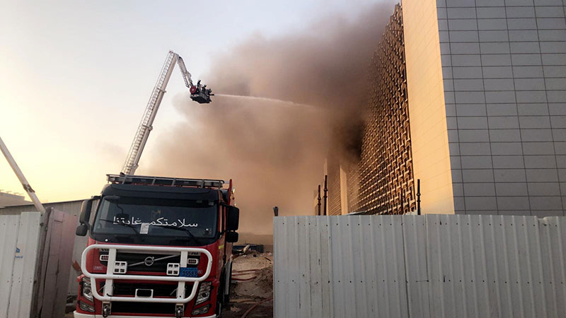 Around 55 fire fighters suffered injuries at Al-Sabah health zone fire