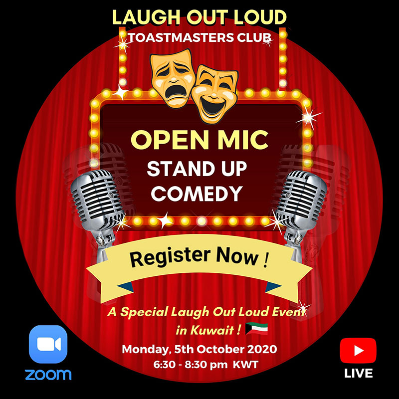 Laugh Out Loud Toastmasters Club in Kuwait conducting stand up comedy and humorous speeches