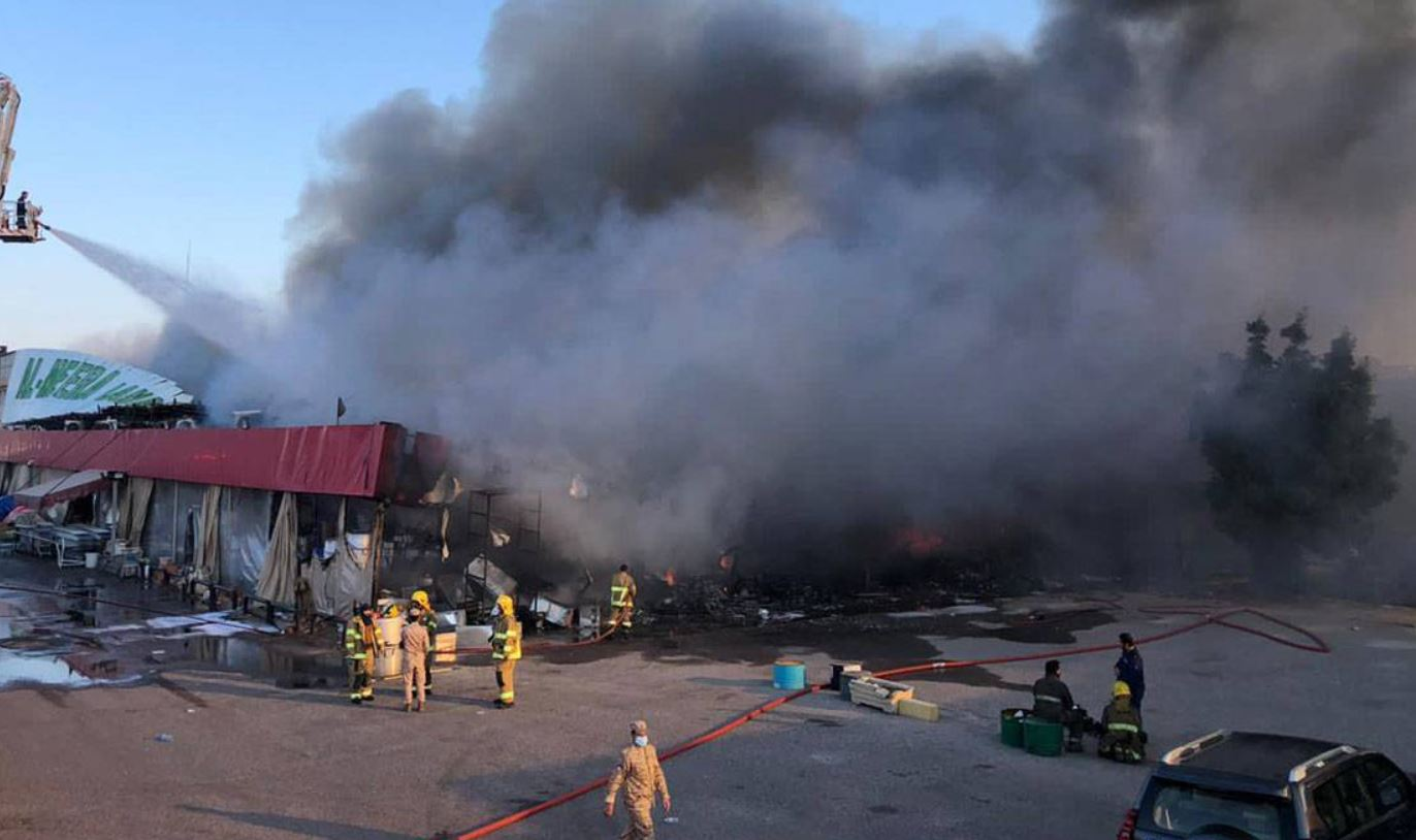 Massive fire controlled at a central market in  Shuwaikh Industrial Area