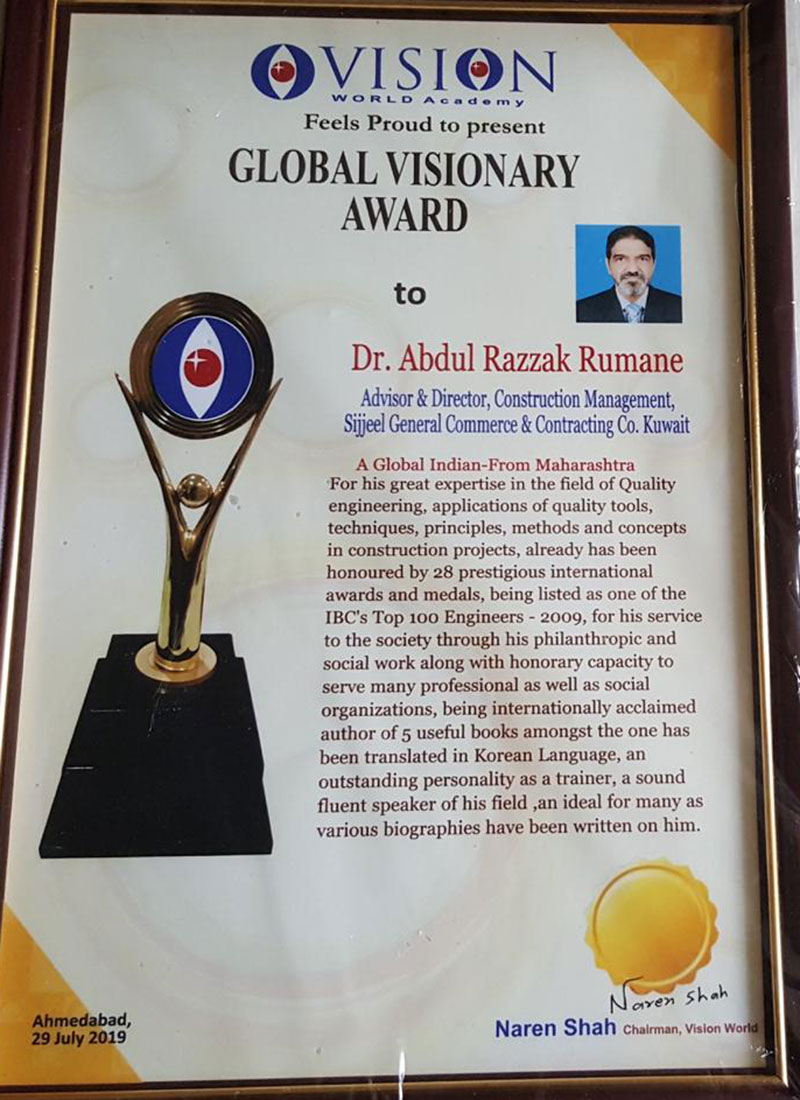 Dr. Rumane Honored with Global Visionary Award