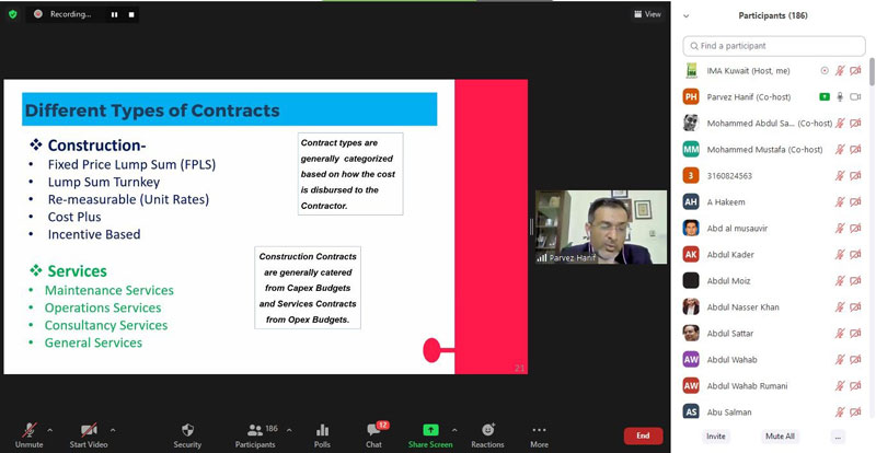 "IMA Conducted webinar on ""Fundamentals of Contract Management"""