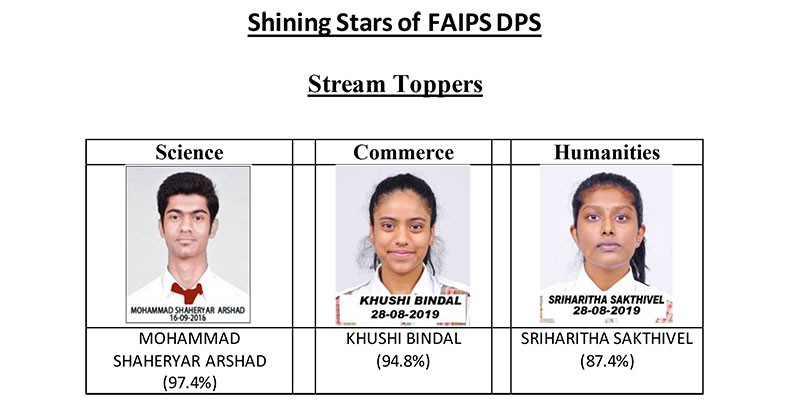 FAIPS (DPS) Maintains Supremacy in CBSE Class 12 Results