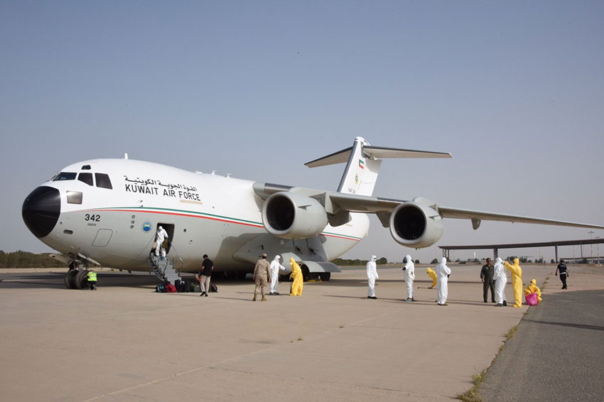 Kuwait army plane loaded with medical supplies arrived  from China