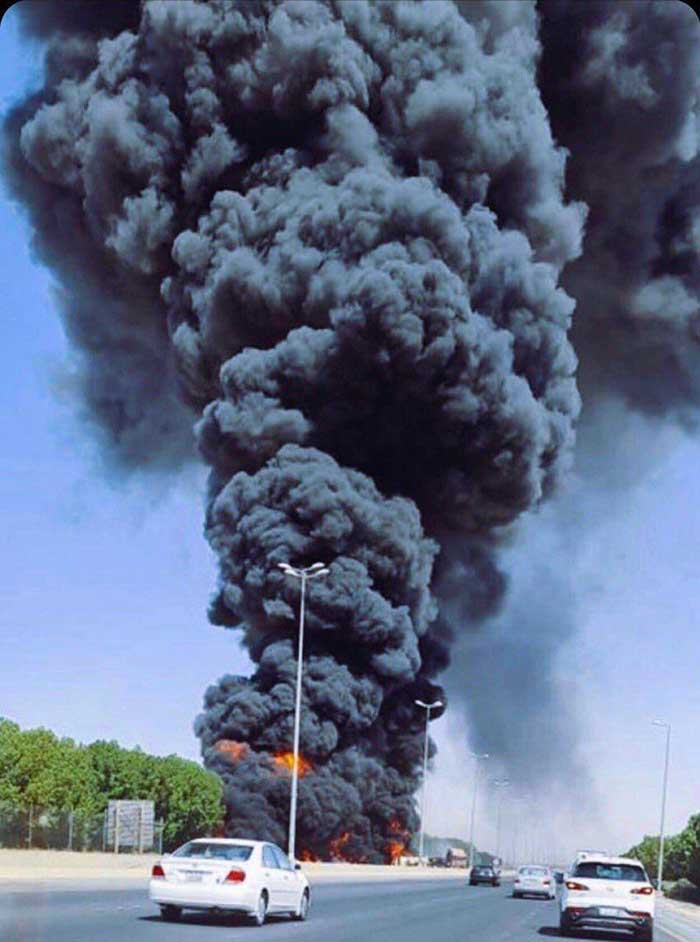 Massive fire as fuel tanker overturned on Jahra Road
